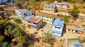 Vue aérienne de l'association akany avoko madagascar